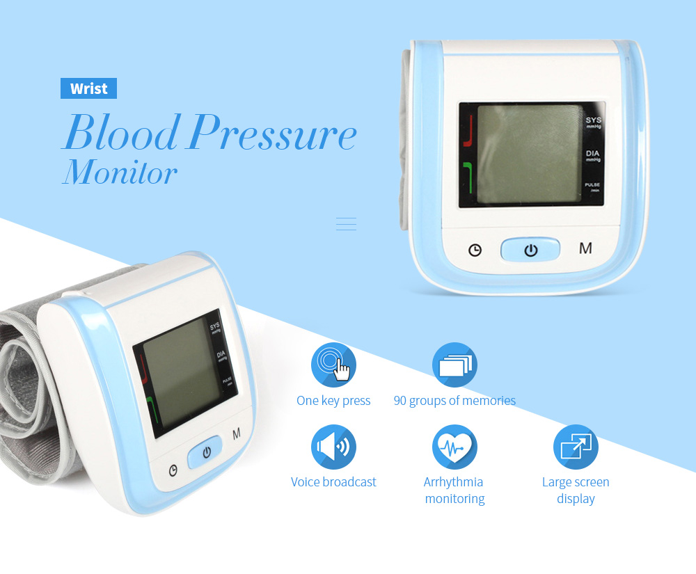 BPA-1 Wrist Home Electronic Blood Pressure Without Voice Heart Rate Monitor - Purple Wrist Blood Pressure Monitor