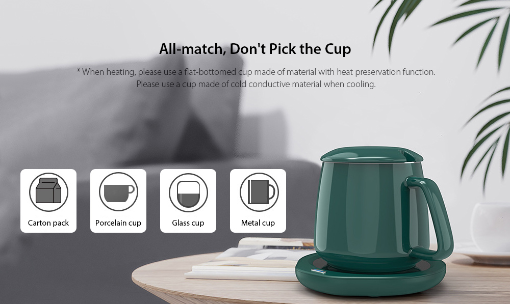 P203 Mug Warmer Heating Pad Temperature 55 Degree Cup Insulation Milk Ceramic Cup Heating Base Domestic Version - Black All-match, Don't Pick the Cup