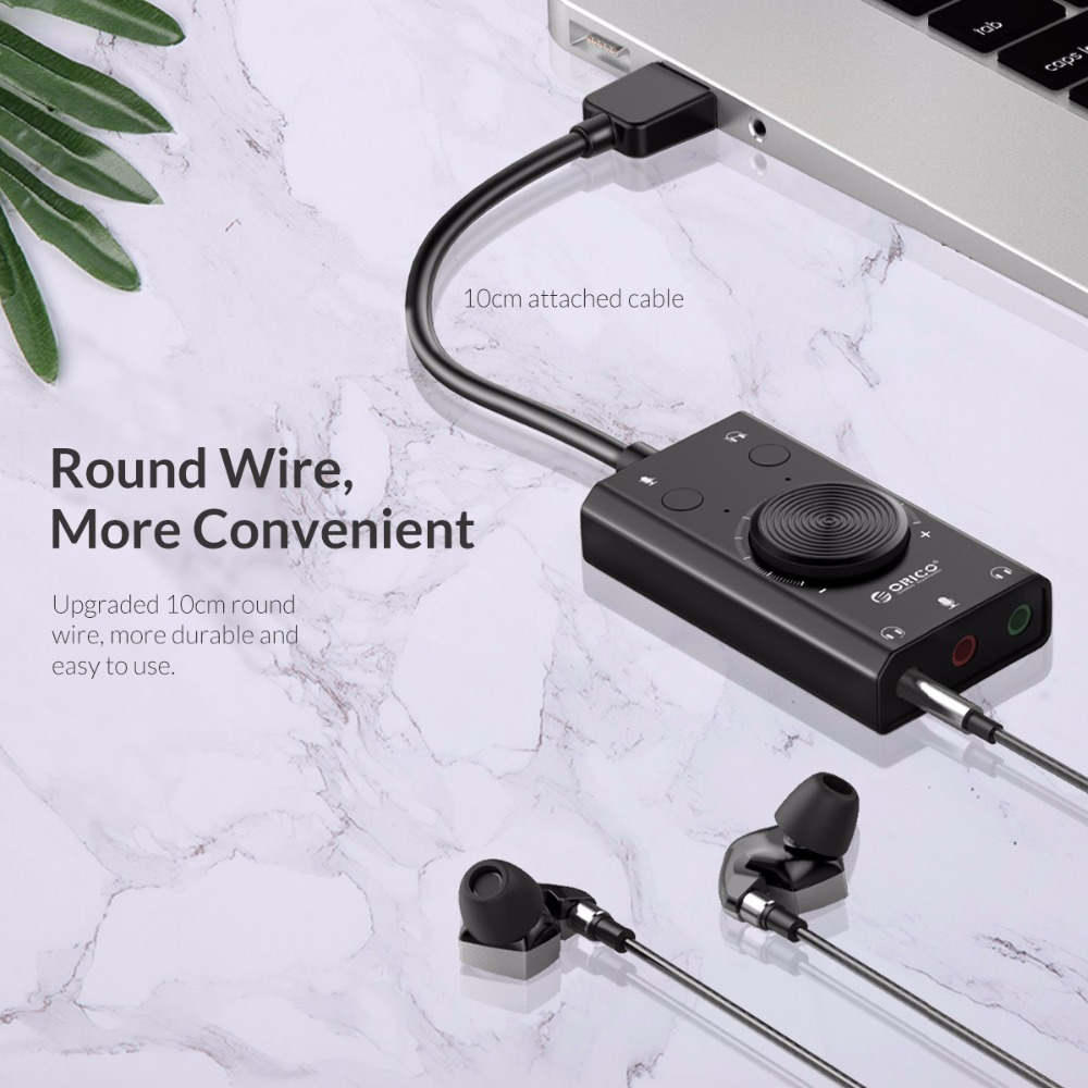 Orico SC2 USB Sound Card External Stereo Mic Speaker Headset Audio Jack 3.5mm Cable Adapter Mute Switch Volume Adjustment Free Drive - Black