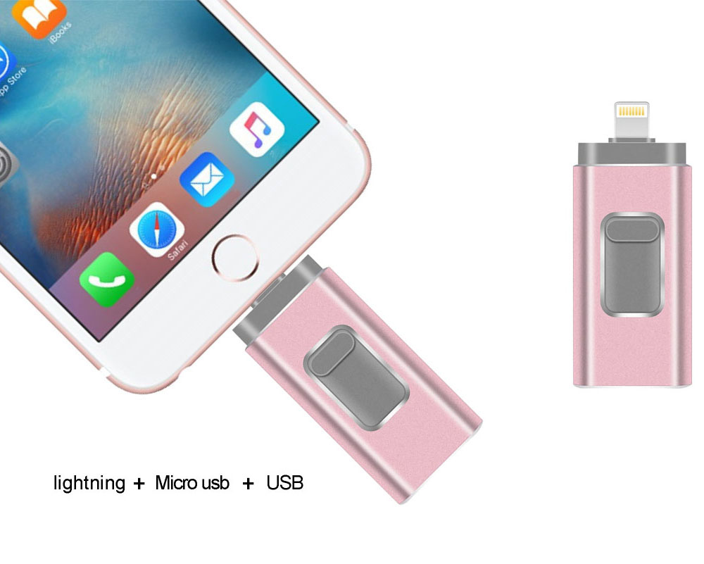 USB Flash Drive 3 In 1 OTG 32GB Pendrive 3.0 CLE 64GB For IPhone Android Tablet - Golden 4GB