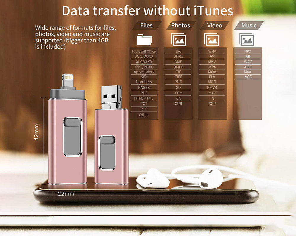USB Flash Drive 4-in-1 Micro USB OTG Flash Drive C-type Pen Suitable For IPhone IPad PC Android Mobile Phone - Rose Gold 4GB