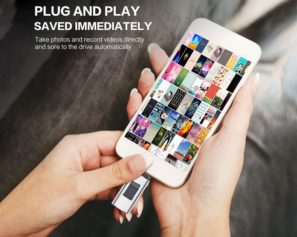 USB Flash Drive 4-in-1 Micro USB OTG Flash Drive C-type Pen Suitable For IPhone IPad PC Android Mobile Phone - Golden 4GB