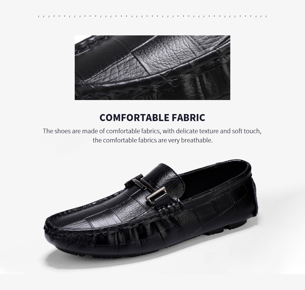 Men's Fashion Leather Soft-soled Casual Peas Shoes Fabric