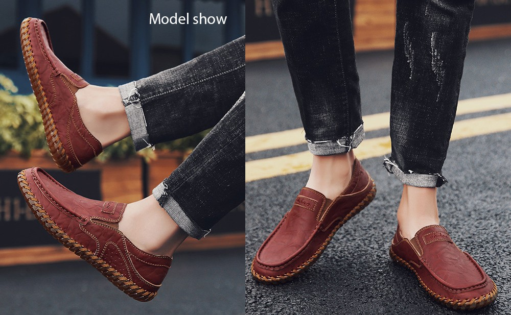 Spring and Autumn Large Size Men's Soft Leather Casual Shoes model show