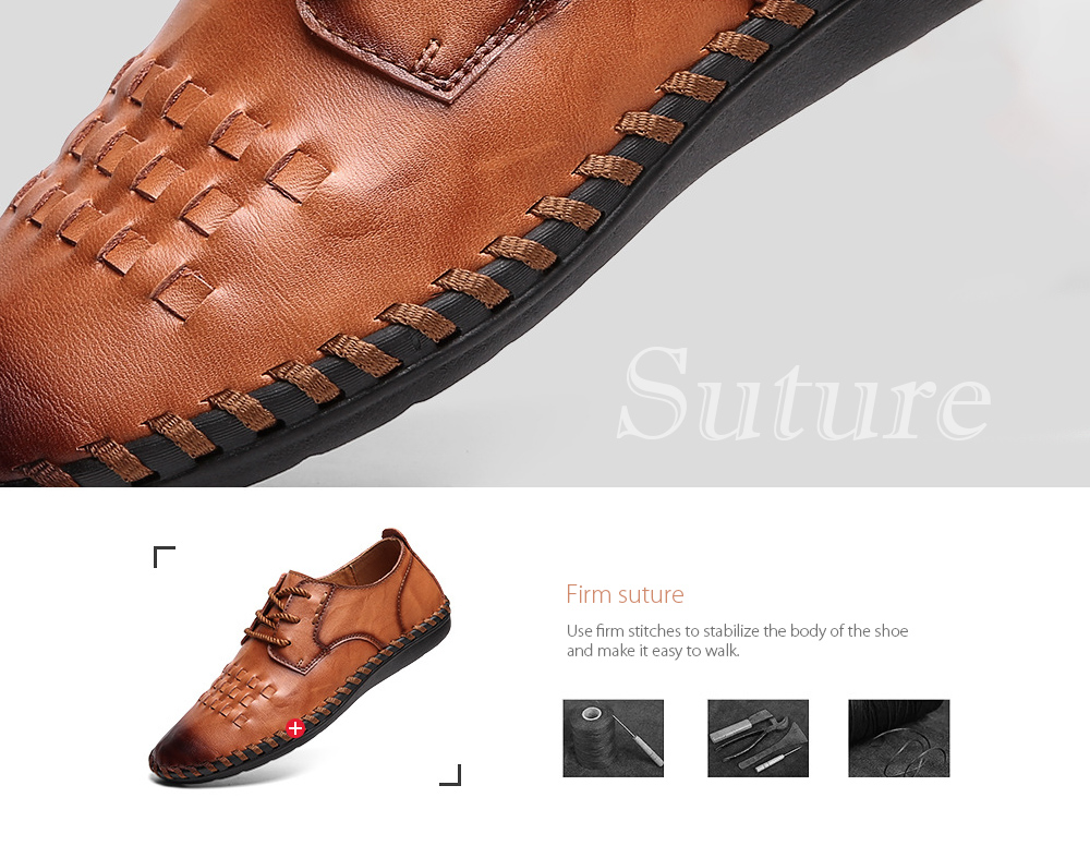 Spring All-match Men's Large Size Casual Leather Shoes Firm suture