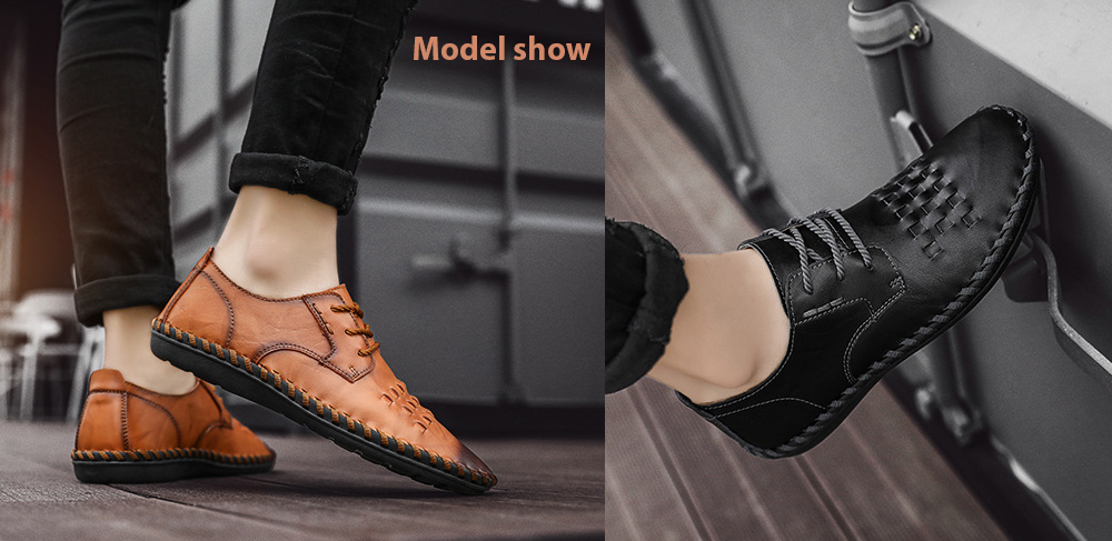 Spring All-match Men's Large Size Casual Leather Shoes model show