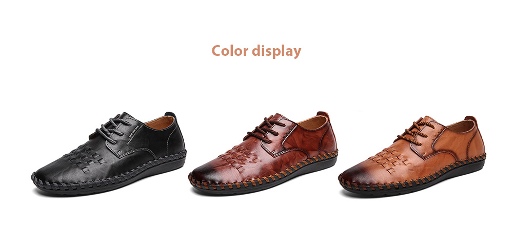 Spring All-match Men's Large Size Casual Leather Shoes color