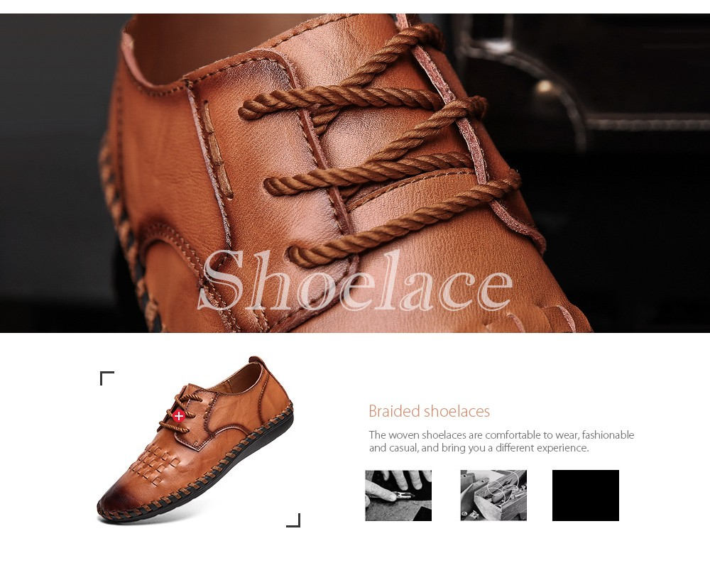 Spring All-match Men's Large Size Casual Leather Shoes Braided shoelaces