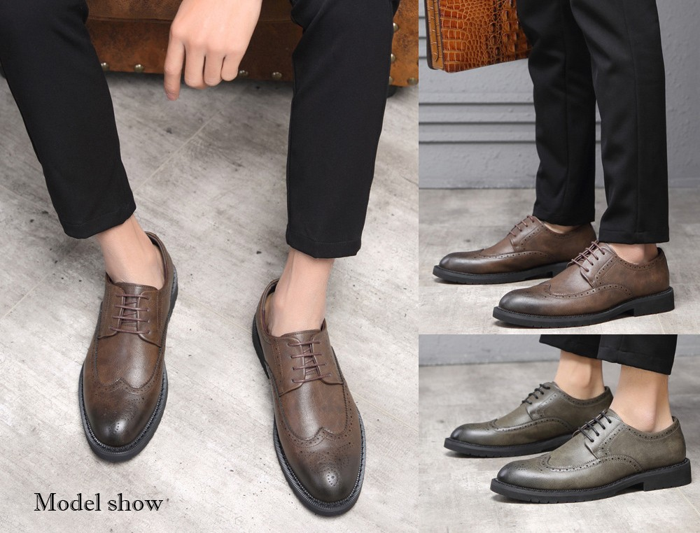 Autumn Carved Brogue Shoes model show