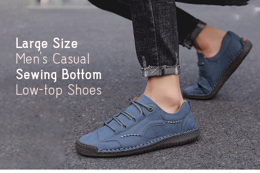 9927 Autumn Large Size Casual Men's Handmade Shoes - Black 48 Large Size Men's Casual Sewing Bottom Low-top Shoes