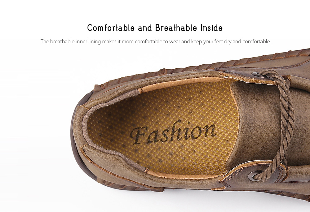 9927 Autumn Large Size Casual Men's Handmade Shoes - Black 48 Comfortable and Breathable Inside