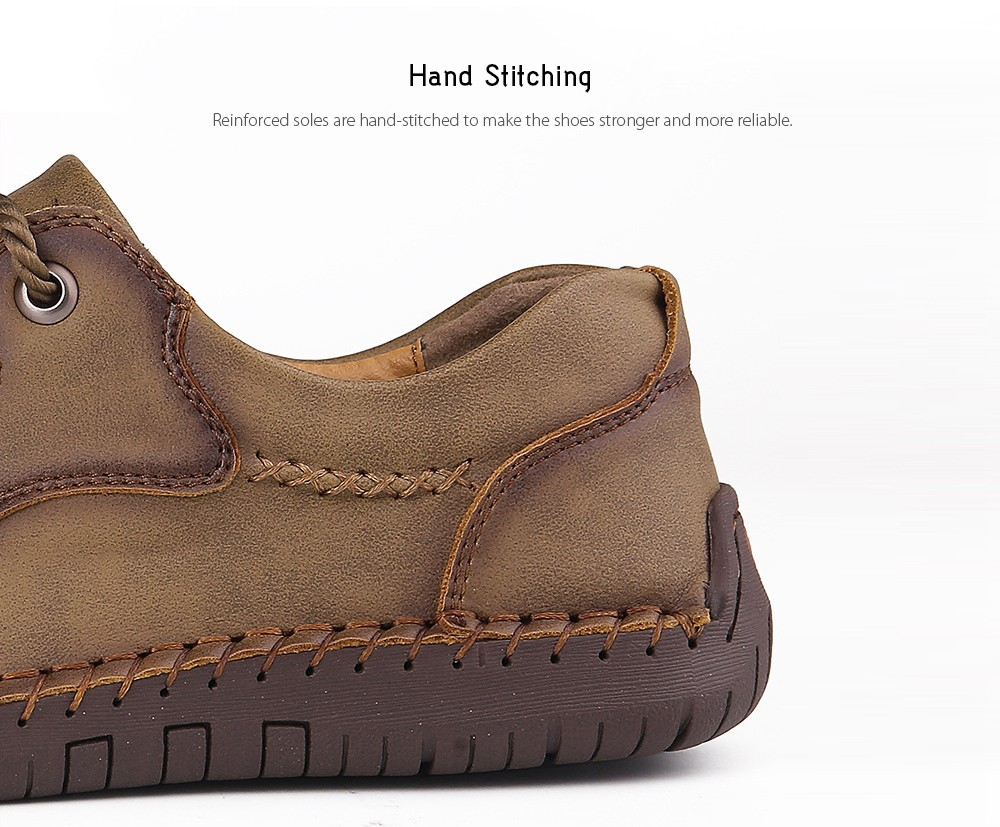 9927 Autumn Large Size Casual Men's Handmade Shoes - Black 48 Hand Stitching