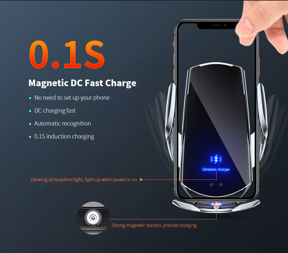Q3 Car Wireless Charger Universal Mobile Phone Bracket Induction Open Automatic Navigation Stand - Black 0.1S Magnetic DC Fast Charge