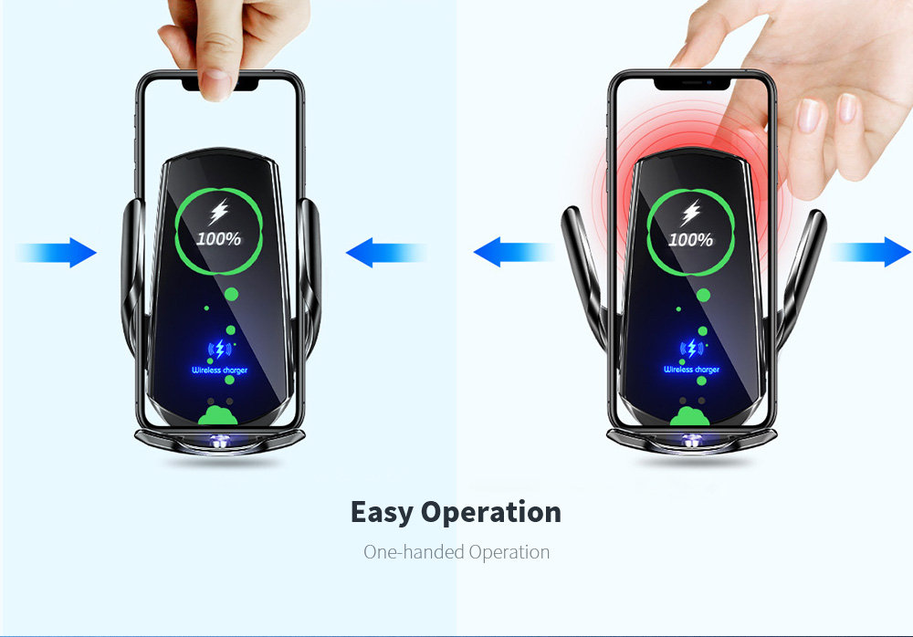 Q3 Car Wireless Charger Universal Mobile Phone Bracket Induction Open Automatic Navigation Stand - Black Easy Operation
