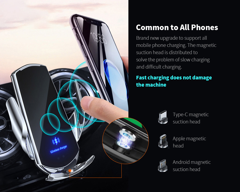 Q3 Car Wireless Charger Universal Mobile Phone Bracket Induction Open Automatic Navigation Stand - Black Applicable to All Phones