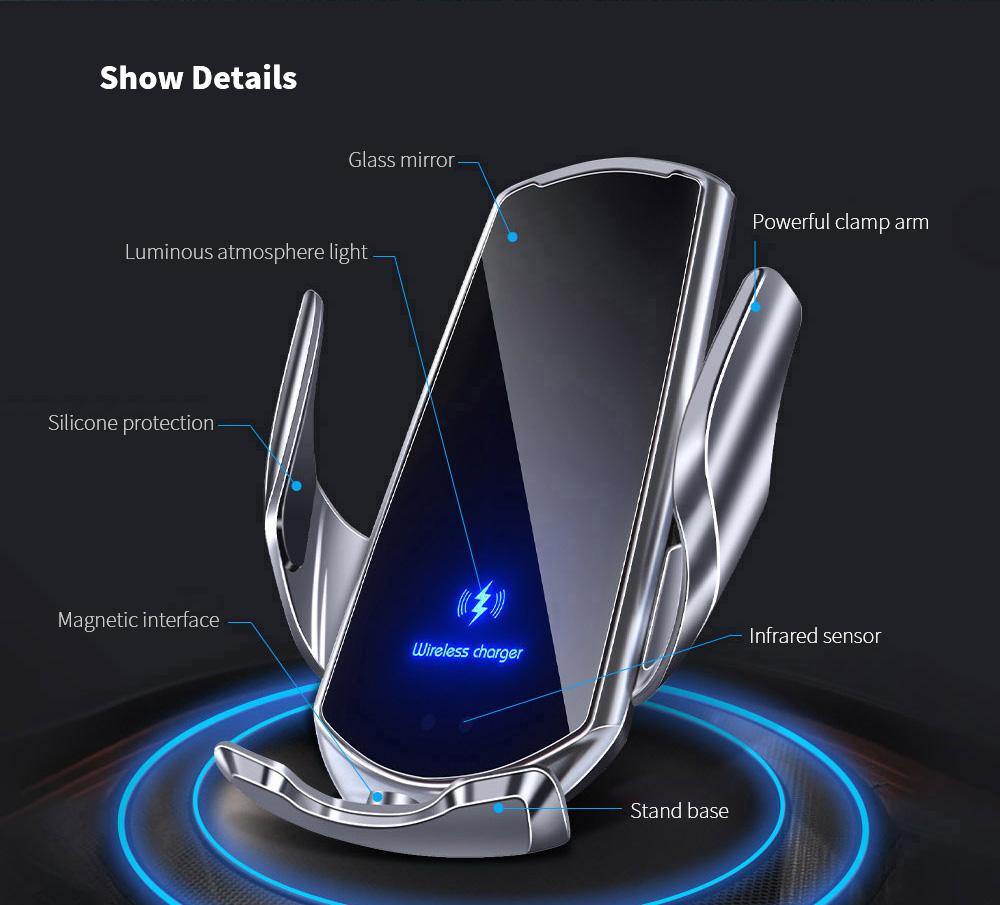 Q3 Car Wireless Charger Universal Mobile Phone Bracket Induction Open Automatic Navigation Stand - Black Show Details