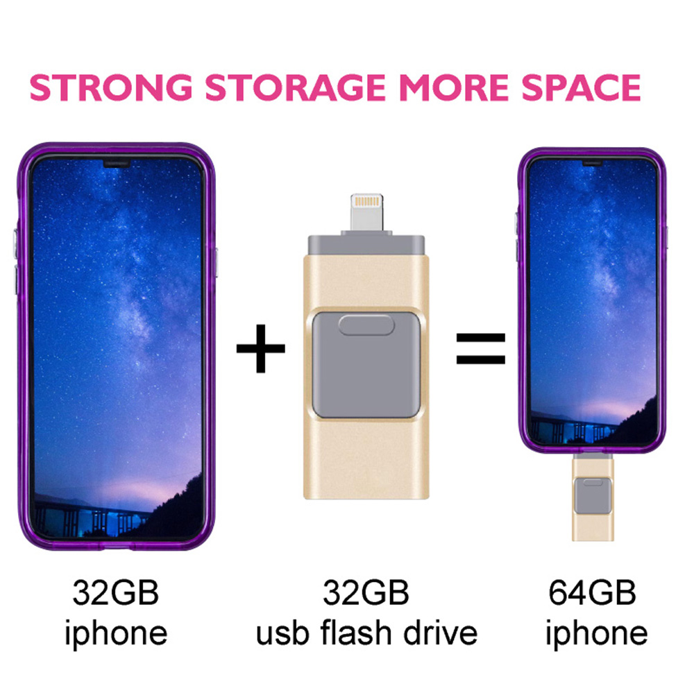 3 in 1 USB Flash Memory Drive OTG 32GB 64GB 128GB 512GB Pendrive 3.0 CLE USB Flash Drive for for iPhone / Android / Tablet PC - Silver 4GB