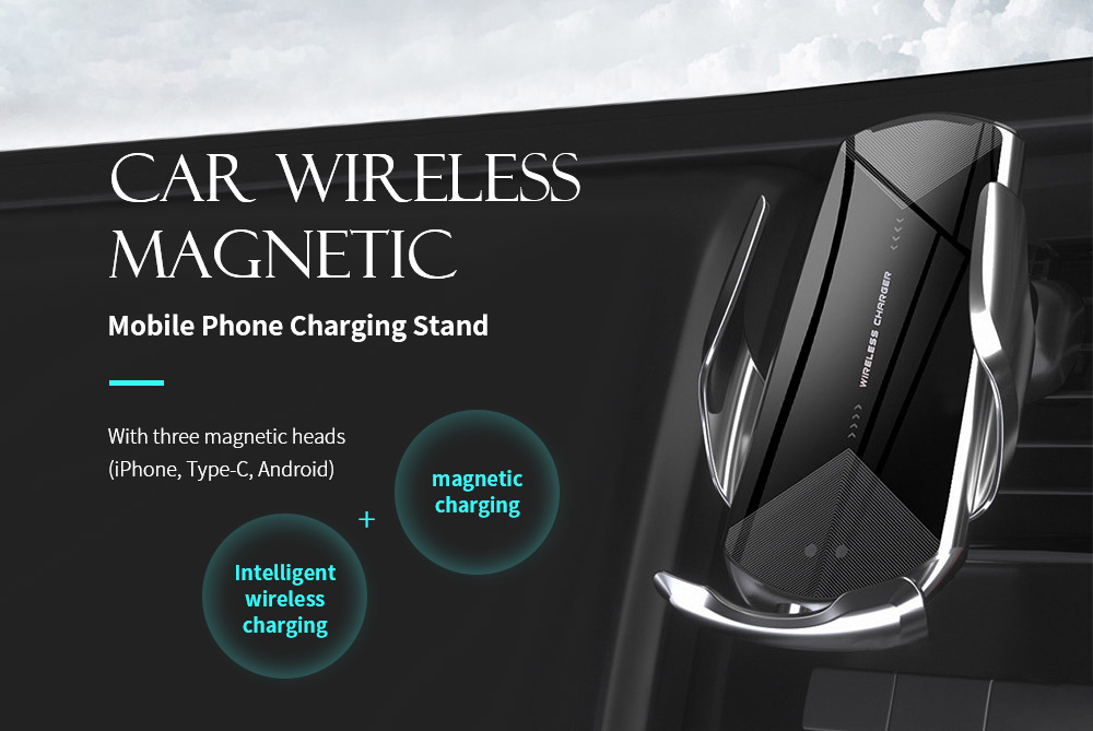 Q2 Universal Wireless Magnetic Charging Bracket for Car Phone - Black Car Wireless Magnetic Mobile Phone Charging Stand