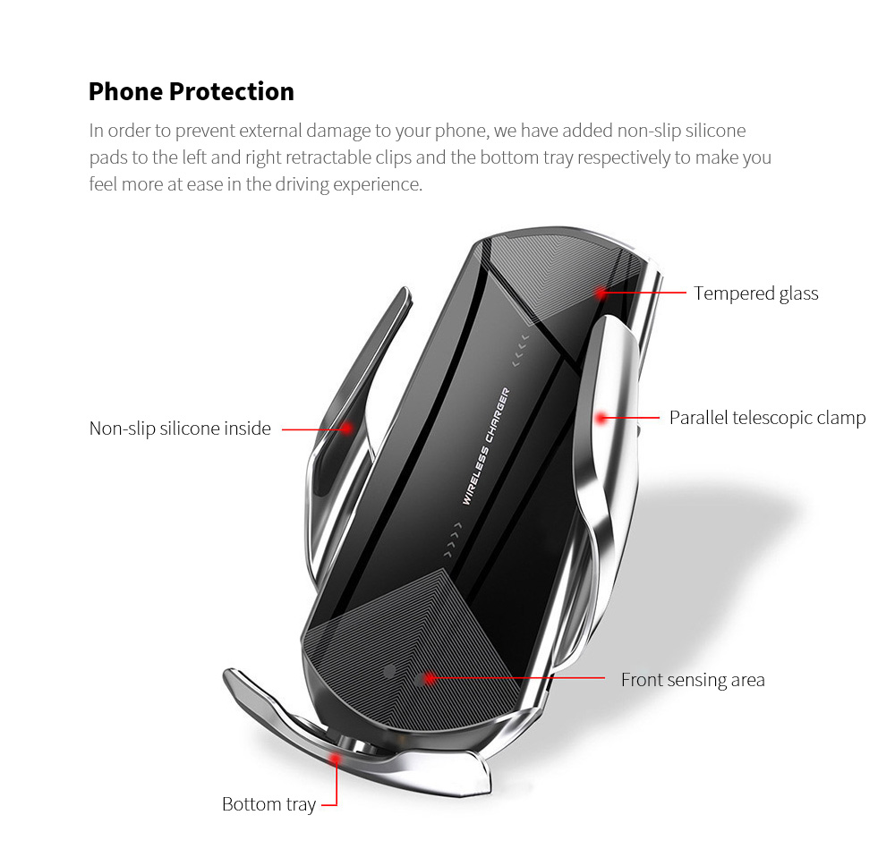 Q2 Universal Wireless Magnetic Charging Bracket for Car Phone - Black Phone Protection