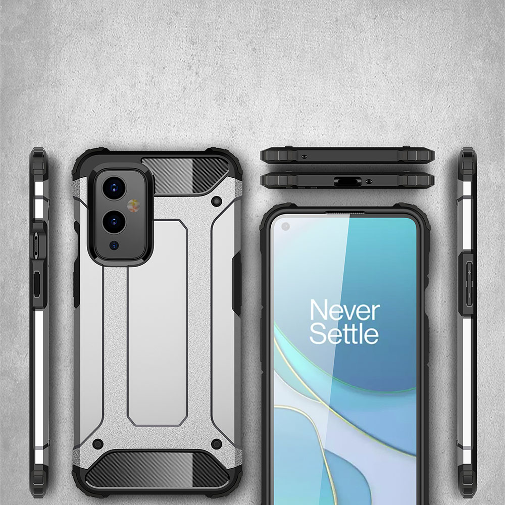 ASLING Diamond Iron Armor Series 360 Degree Protective Phone Case for OnePlus 9 - Cadetblue