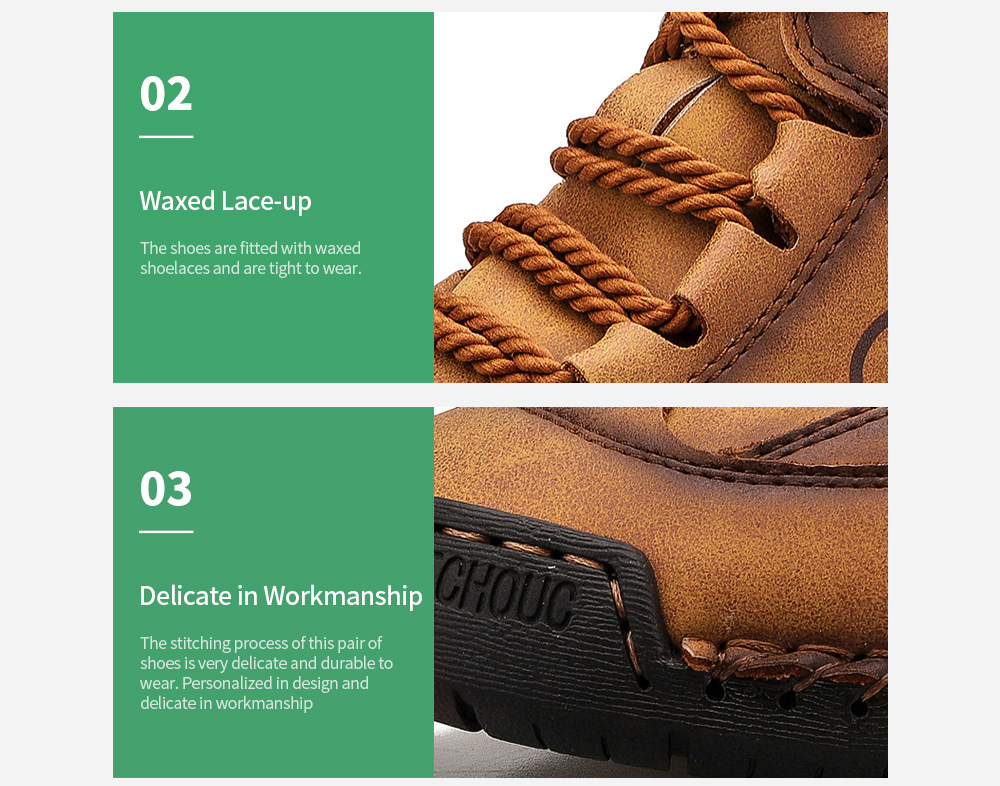 Winter Men's Shoes High Boots Stitching