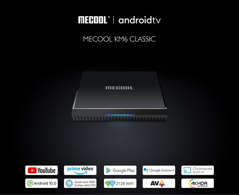 MECOOL KM6 Classic TV Box Android 10.0 ATV 2T2R WiFi Network Player Bluetooth 4.2 With Amlogic S905X4 High Performance CPU High Clarity 4K HDR - Black 2GB RAM + 16GB ROM UK Plug