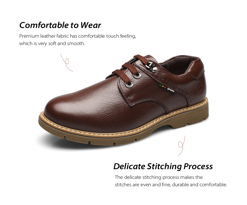 Winter Big Head Men's Casual Leather Shoes Fabric
