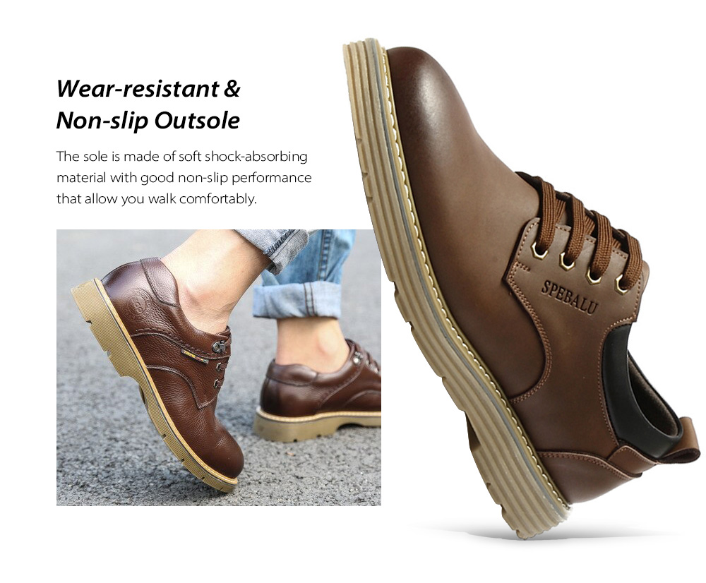 Winter Big Head Men's Casual Leather Shoes Sole