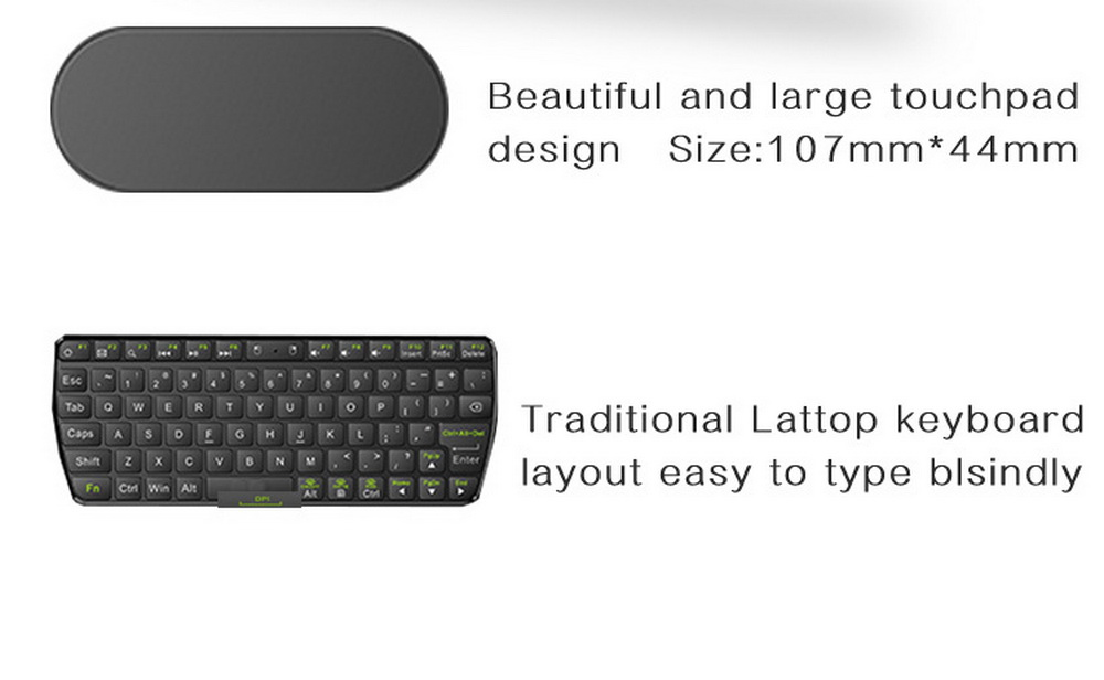 D8 Mini Keyboard Mouse Large Touchpad 2.4G Wireless Keyboard - Black