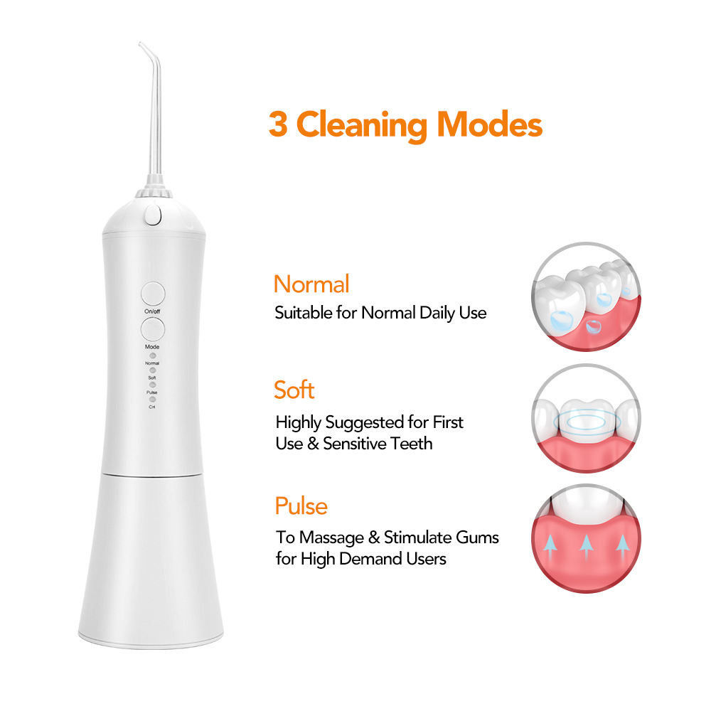Electric Water Flosser IPX7 Teeth Washing Machine Portable Home Use Oral Cleaning - White