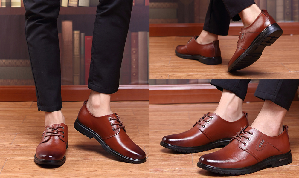 Men's Business Casual Leather Shoes model show