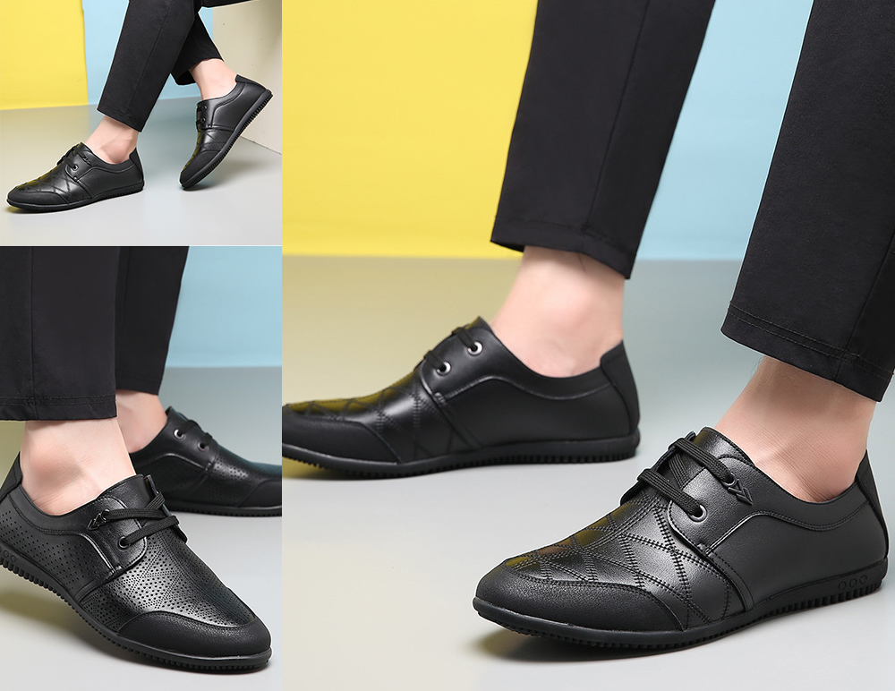 Men's Business Casual Leather Lace Shoes model show