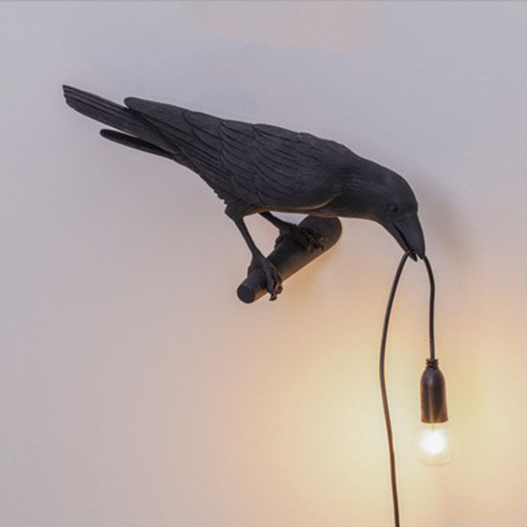 Auspicious Bird Table Lamp Personality Creative Bedroom Bed Animal Styling Bird Wall Lamp Decoration - White Left wall light