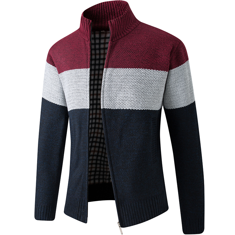 DSB15-6618 Men Sweater Stand Collar Cardigan Thick Jacket Coat - Red XL