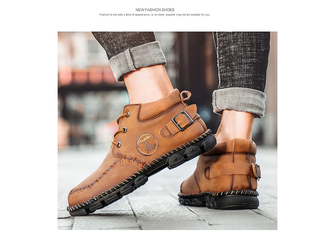 Autumn Martin Boots Men's High-top Leather Shoes