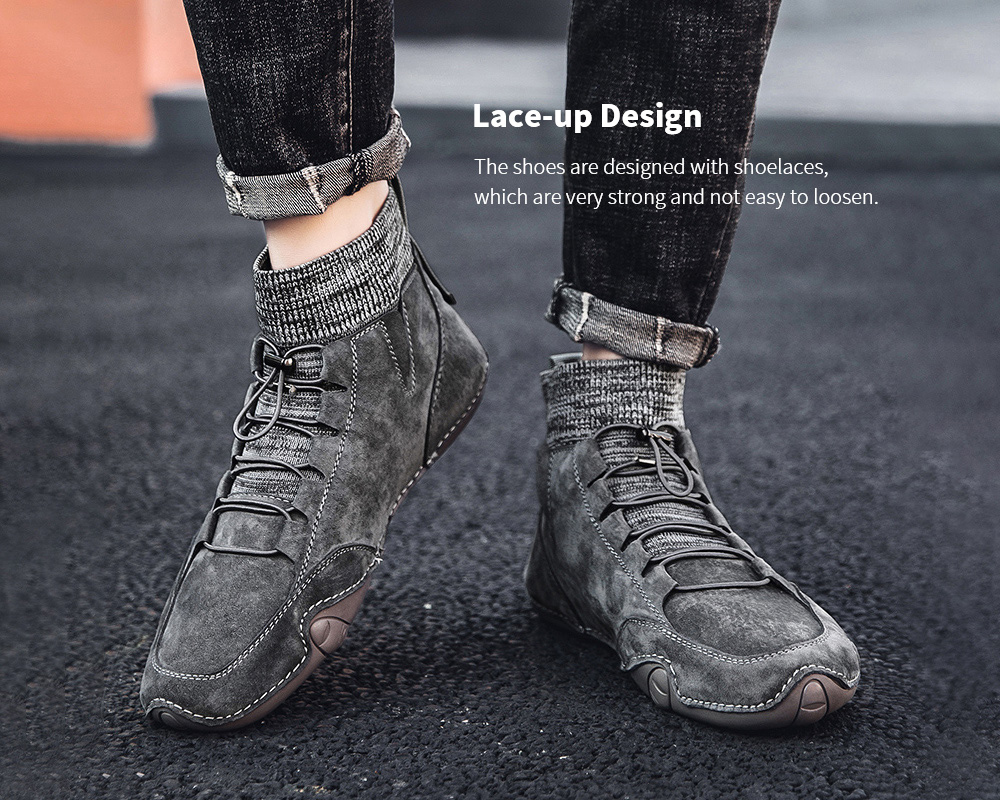 IZZUMI Fashion Casual Men Leather Shoes Lace Up
