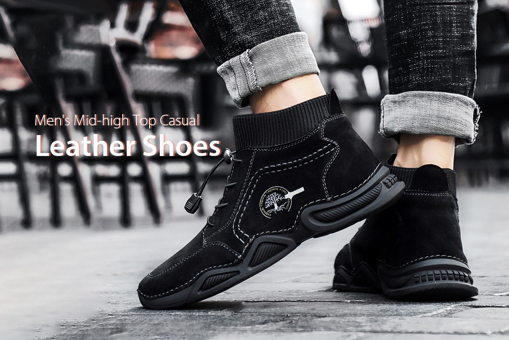 IZZUMI Mid-high Top Men Leather Casual Shoes