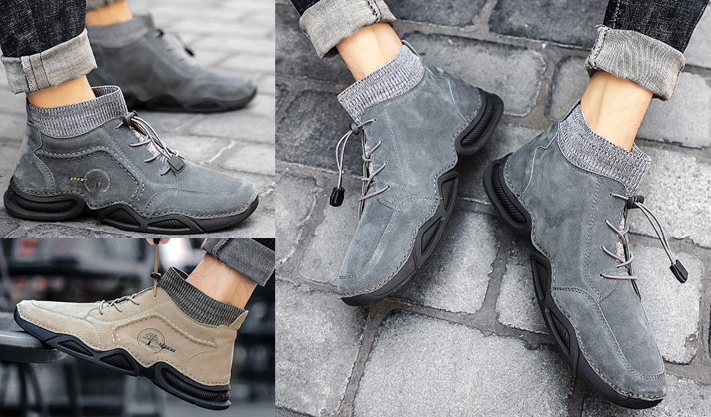 IZZUMI Mid-high Top Men Leather Casual Shoes model show