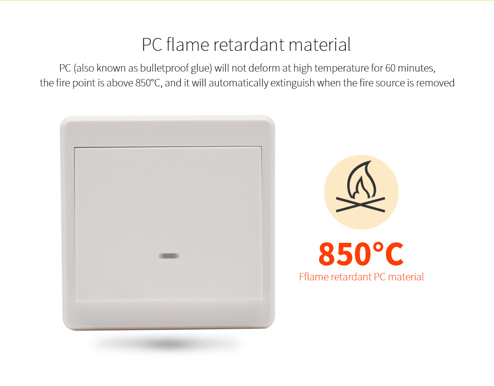 Wiring-free Smart Wireless Remote Control Switch PC flame retardant material
