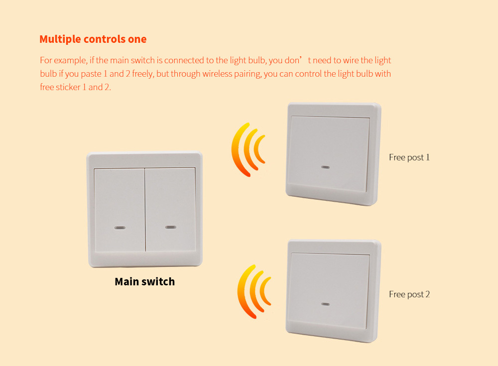 Wiring-free Smart Wireless Remote Control Switch Multiple controls one