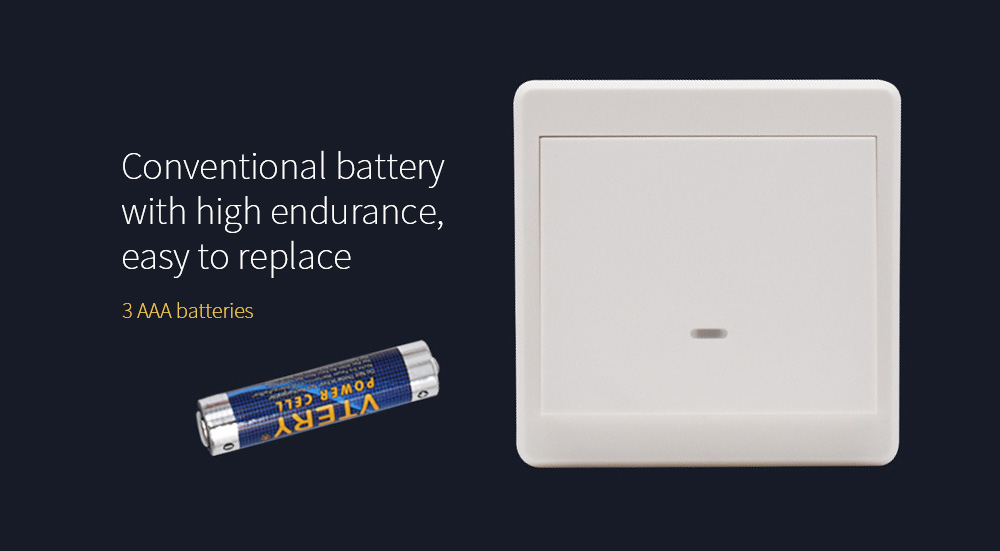 Wiring-free Smart Wireless Remote Control Switch Conventional battery with high endurance, easy to replace