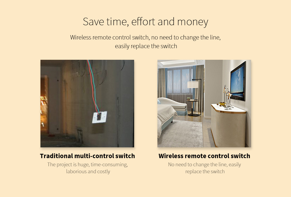 Wiring-free Smart Wireless Remote Control Switch Save time, effort and money