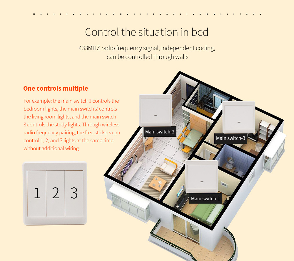 Wiring-free Smart Wireless Remote Control Switch Control the situation in bed