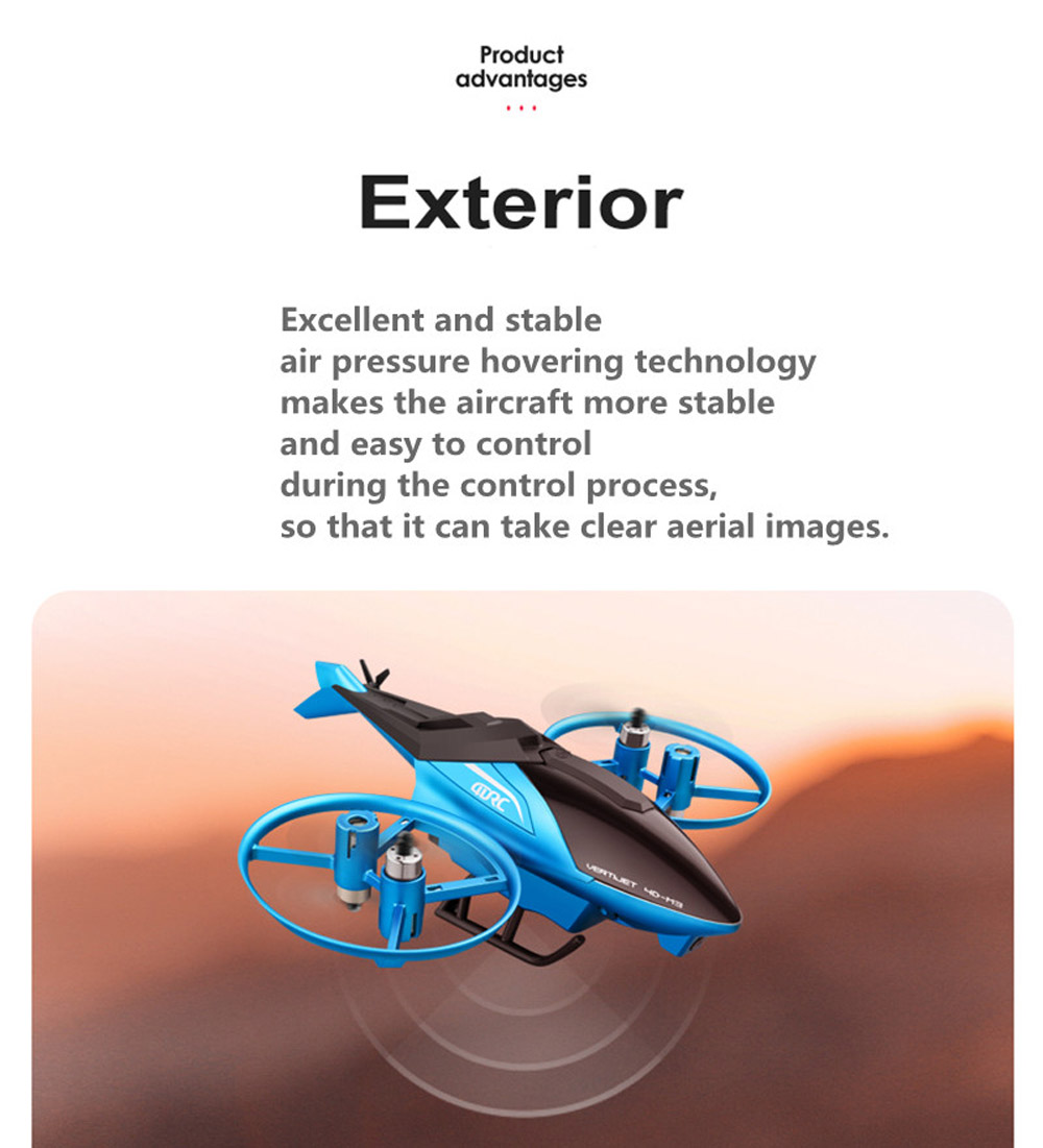 RC Airplane Helicopter Drone Toy - Blue