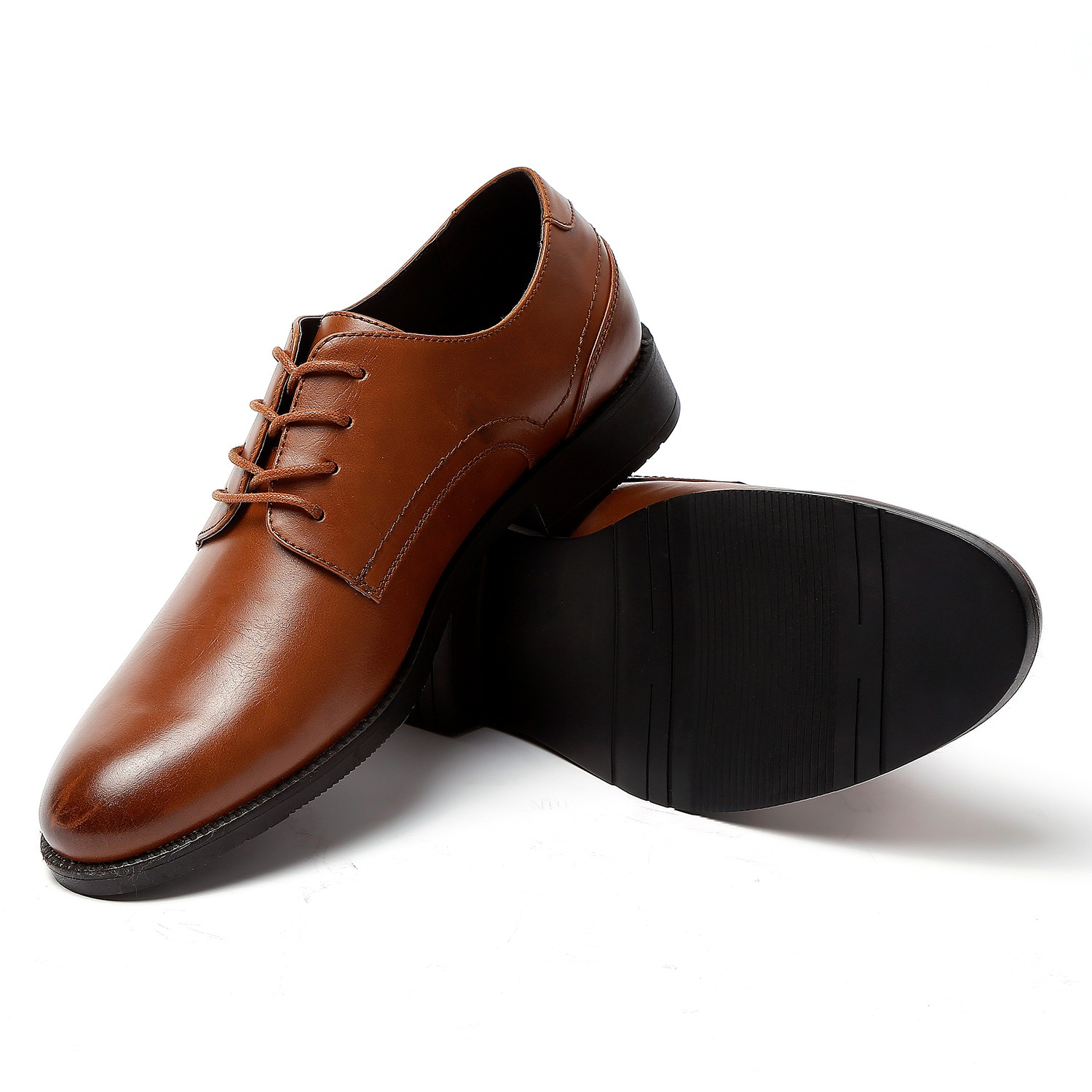 GM GOLAIMAN GM01 Men Business Shoes Solid Color Round Toe Modern Style - Brown US 8.5