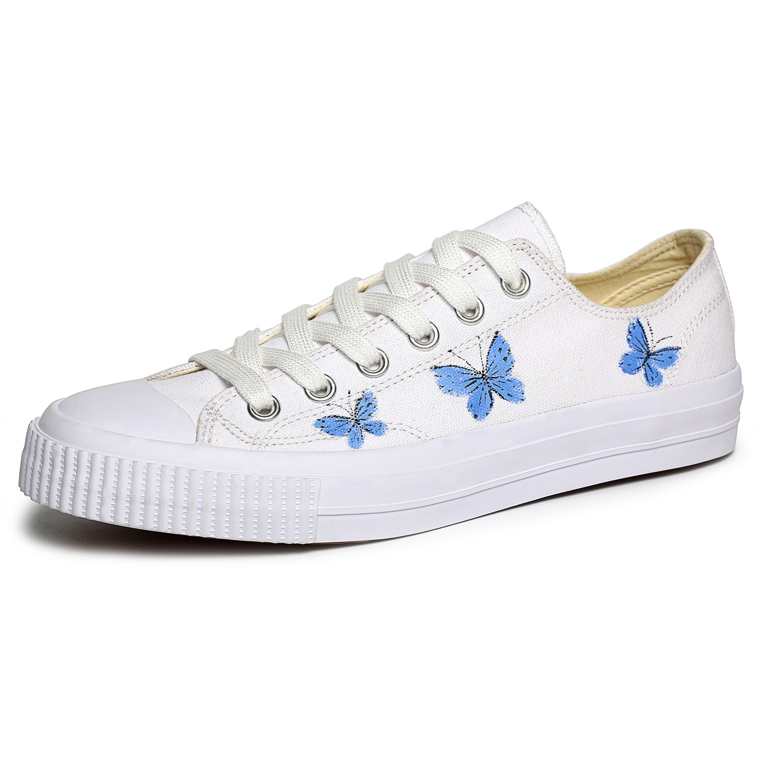 OMINE WP2002 Flat Shoes Men Painted Shoes Butterfly Pattern Canvas - White US 9