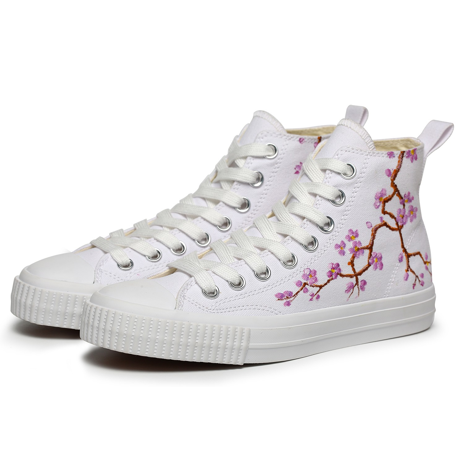 OMINE WP2004 Flat Shoes Men High Top Flower Painted Shoes Canvas - Black US 9