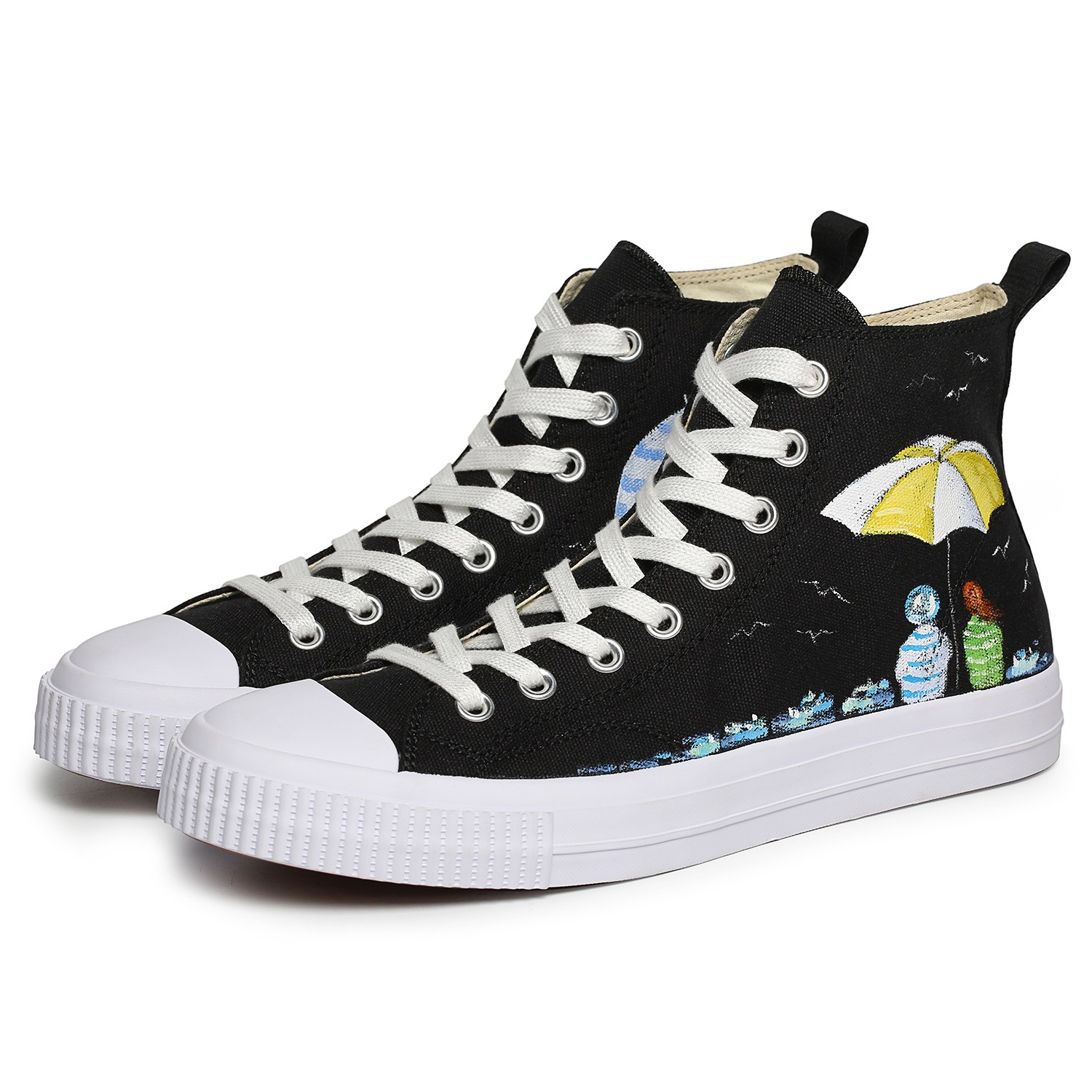 Omine WP2005 Flat Shoes Men High Top Color Painted Shoes Canvas - White US 8
