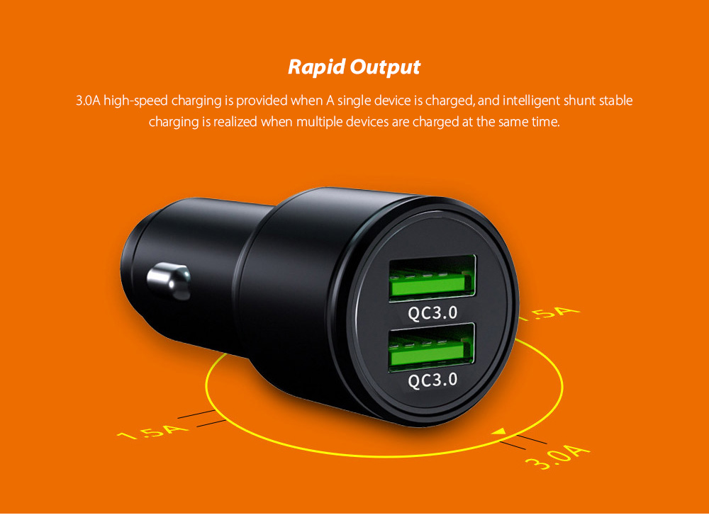 Car Charger Fast Charging QC3.0 Car Cigarette Lighter USB Quick Charge