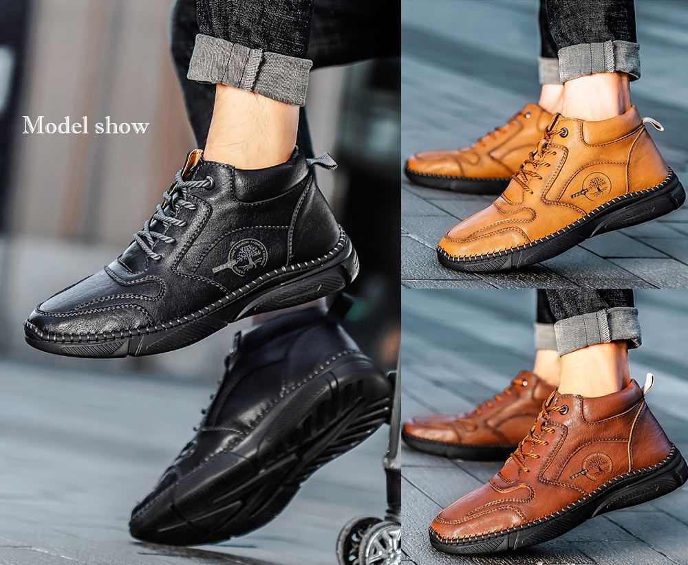 Men's Casual Leather Shoes model show